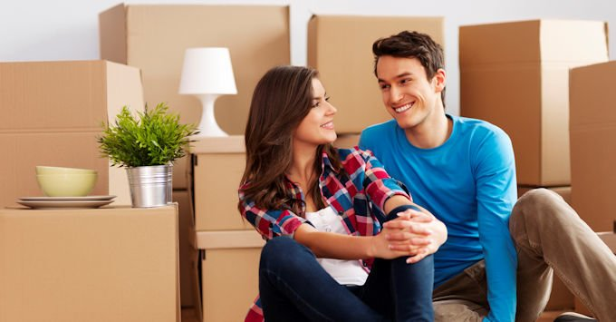young couple in apartment